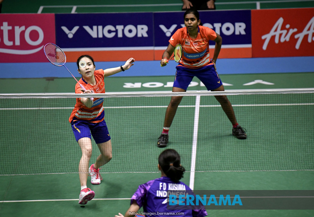 National women's doubles head coach Chan Chong Ming said his charges, like M. Thinaah, 23, Yap Ling, 21, and Go Pei Kee, 19, were among those who showed improvement in the ongoing Uber Cup tournament in their Group D matches against China, Denmark and Canada. — Picture via Twitter/Bernama