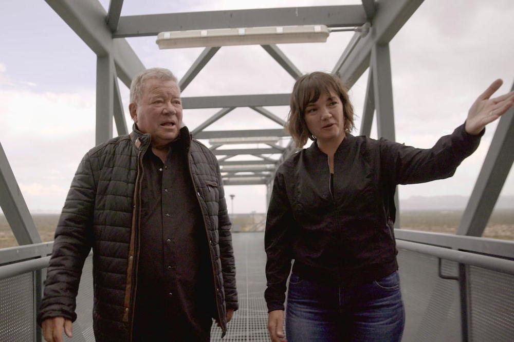 William Shatner tours the launch tower with Blue Origin's Sarah Knights at Launch Site One. — Reuters pic