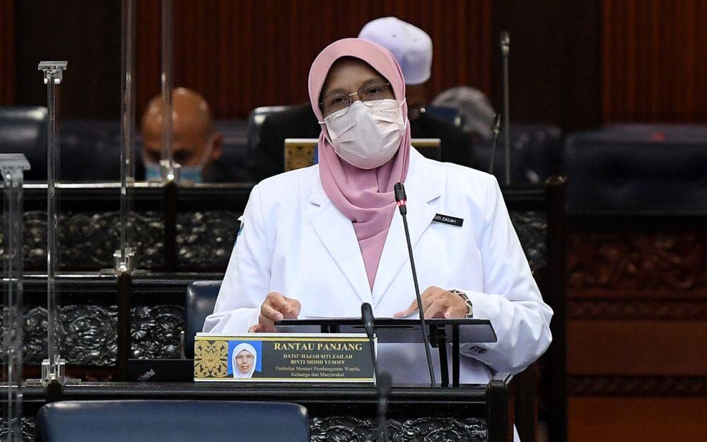 Women, Family and Community Development Deputy Minister Datuk Siti Zailah Mohd Yusoff addresses members of Parliament in Kuala Lumpur September 29, 2021. — Bernama pic