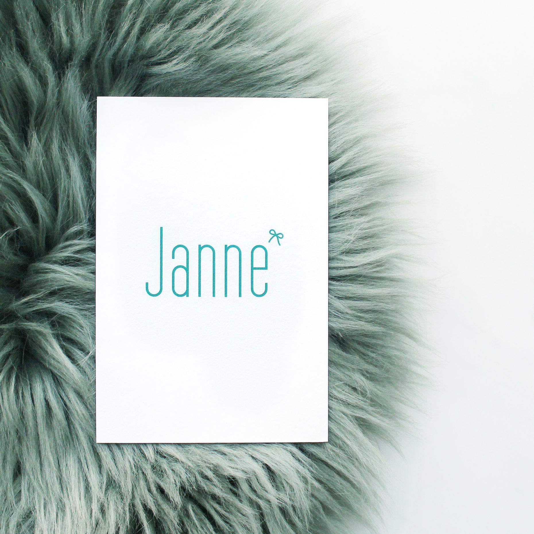 Geboortekaartje Janne