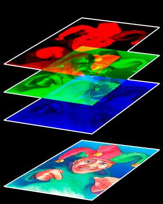 Les couches rouge, vert et bleu s'additionnent pour donner une image en couleurs.