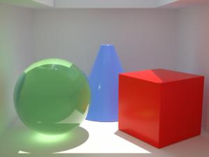 Octane render : optimisation du rendu. Dès que la source lumineuse est plus importante, le rendu en Pathtracing est le noyau le plus adapté si on veut des caustiques (ici légèrement floutées par le Caustic blur).
