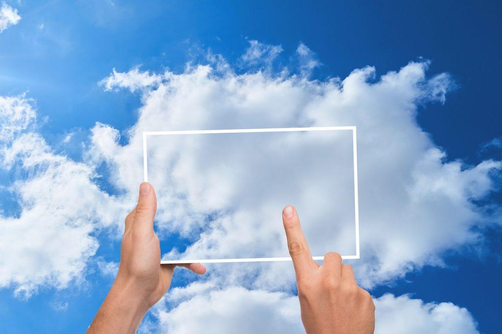 cloud, finger, tablet