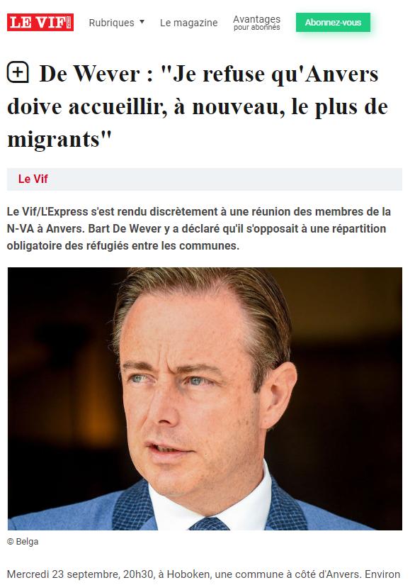 De Wever: Je refuse qu'Anvers doive accueillir à nouveau le plus de migrants