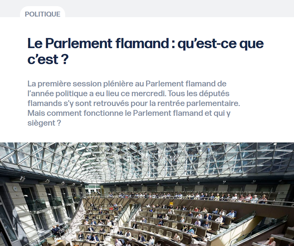 Le Parlement flamand: qu'est ce que c'est?