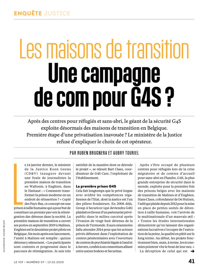 Les maisons de transition: une campagne de com pour G4S?