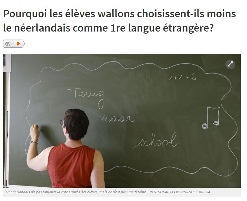 Pourquoi les élèves wallons choisissent ils moins le néerlandais comme 1re langue étrangère