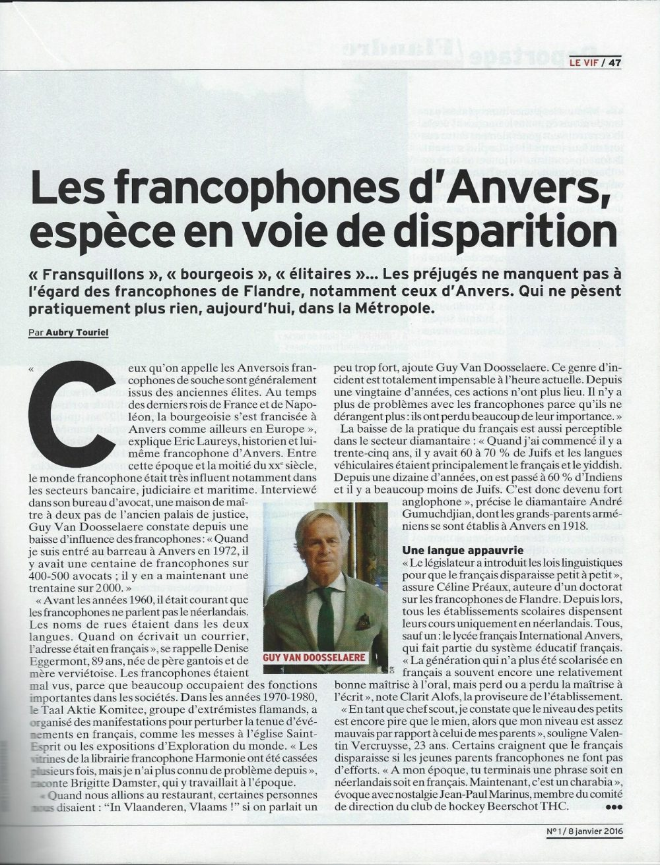 Les francophones d'Anvers, une espèce en voie de disparition le vif