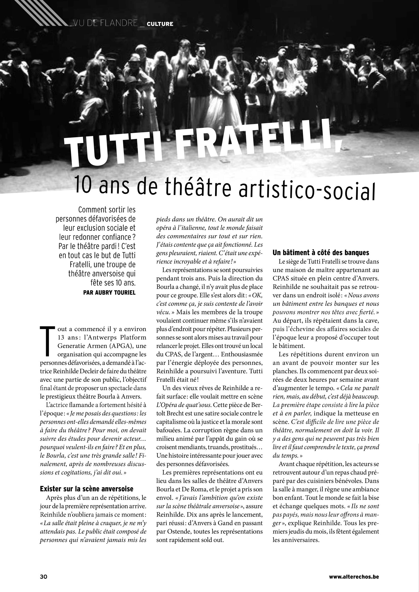 Tutti Fratelli: 10 ans de théâtre artistico-social