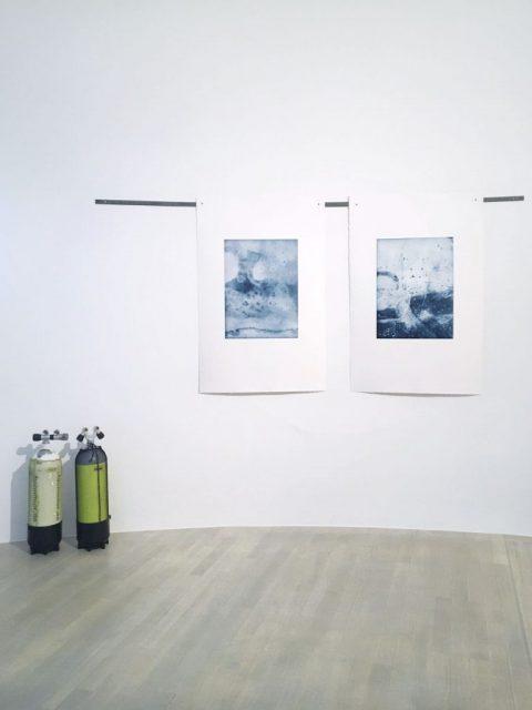 Aus der Luft (Kaiserteich), Im Eis (Kaiserteich) – 2019, Photogravur auf Büttenpapier, 80 x 60 cm, Planet 58, Kunstsammlung NRW
