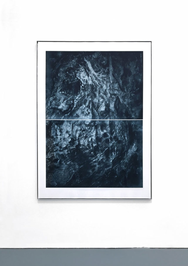 Floating wall / Reef II (unterseeische Felsformation in unterirdischer Waldregion) photogravure on handmade paper, 165 x 118 cm, 2019
