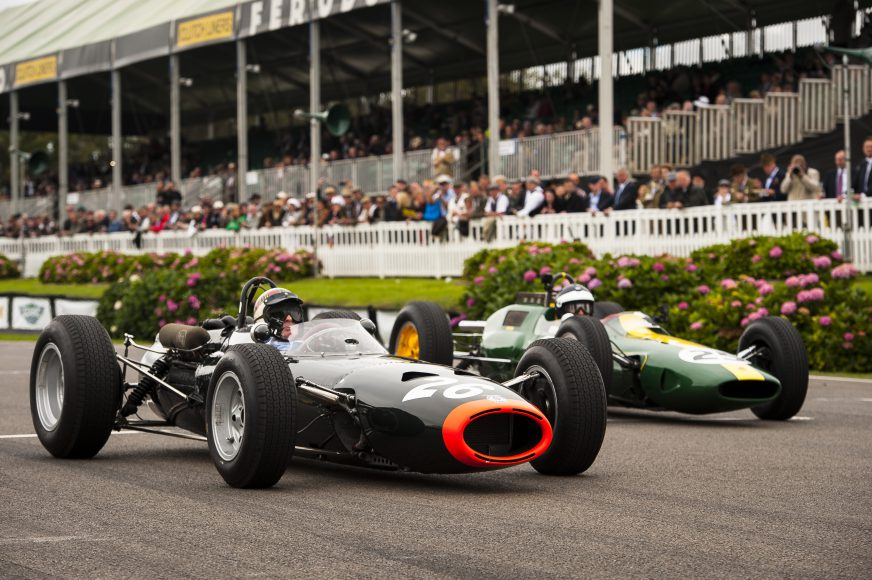 Chichester, England - September 13, 2015: Historic motorsport action and atmosphere during the 2015 Goodwood Revival at Goodwood Motor Circuit.