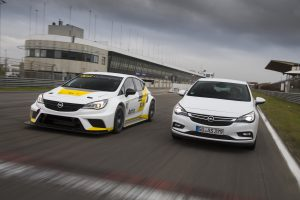 Dynamic duo: The Opel Astra (right) and its sporty sibling the Opel Astra TCR (left).