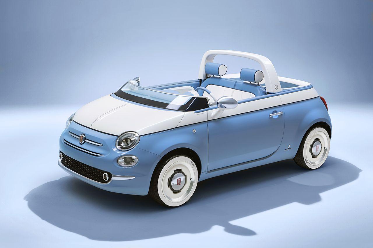 Nieuwe Fiat 500 « Spiaggina '58 » voor de verjaardag van de Fiat 500.