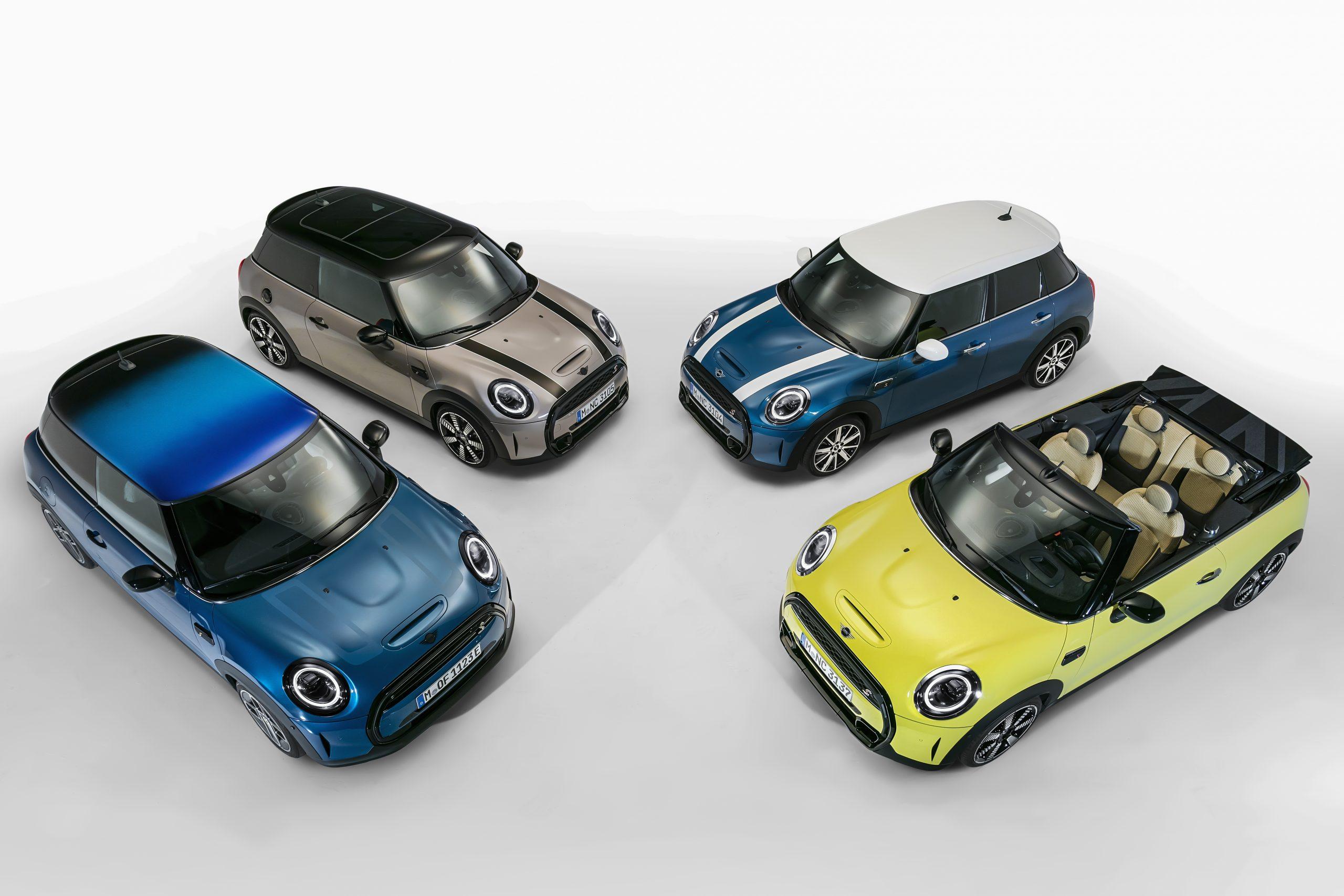 De vernieuwde MINI 3-deurs, de MINI 5-deurs en de MINI Cabrio.