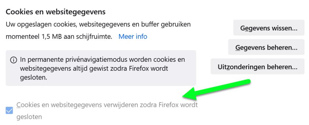 Cookies en websitegegevens