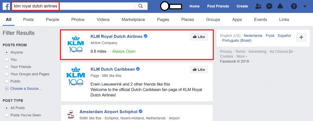 Een facebookpagina zoeken