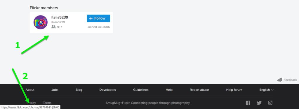 Flickr gebruiker bekijken