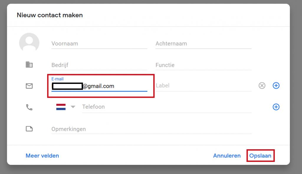 Gmail contact toevoegen