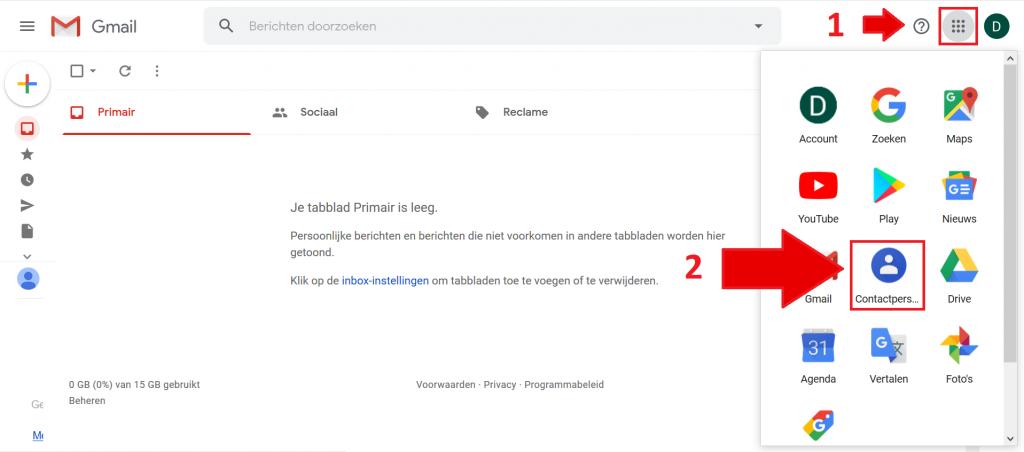 Gmail contactpersonen
