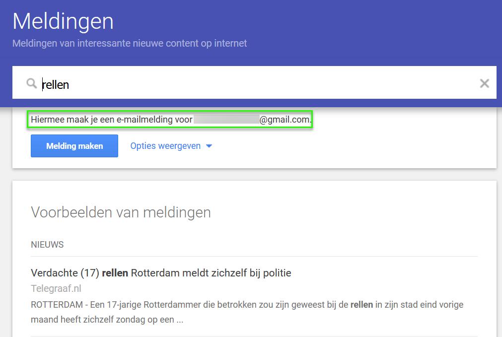 Google Alerts - Ingelogd