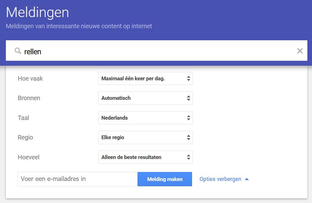 Google Alerts - Opties