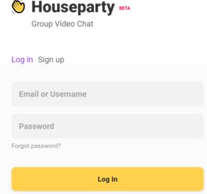 Houseparty log in