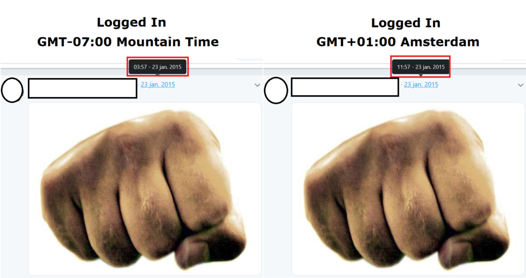 Logged in difference timezone