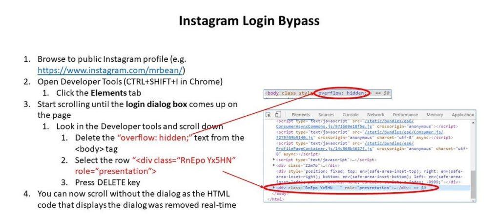 Instagram login bypass
