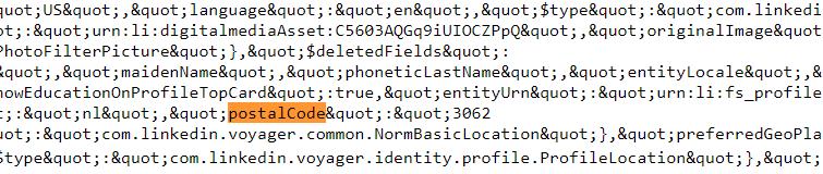 Linkedin postcode resultaat