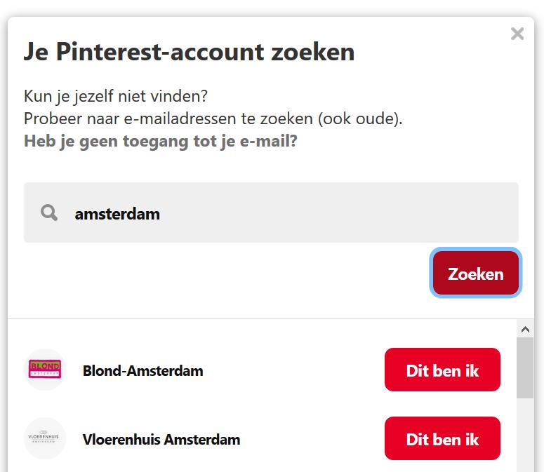 Pinterest wachtwoordherstel