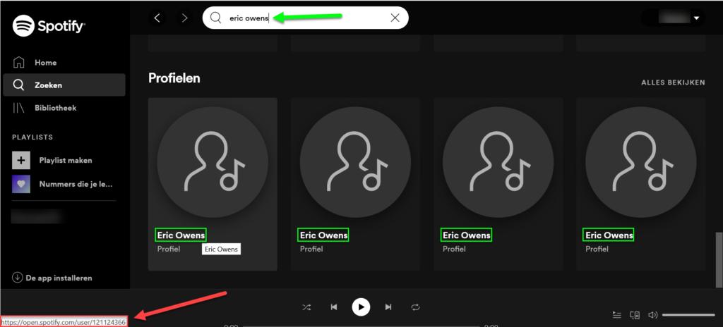 Spotify overzicht gebruikersnamen