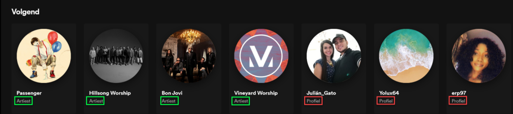 Spotify list of following