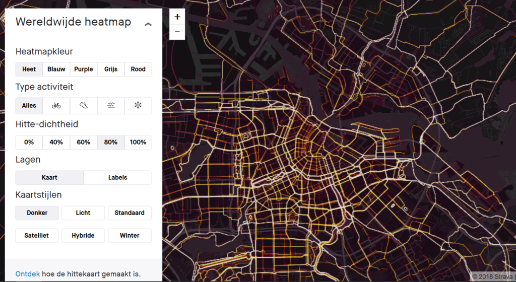 Strava heatmap Amsterdam