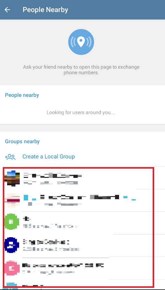 Telegram - Groups nearby