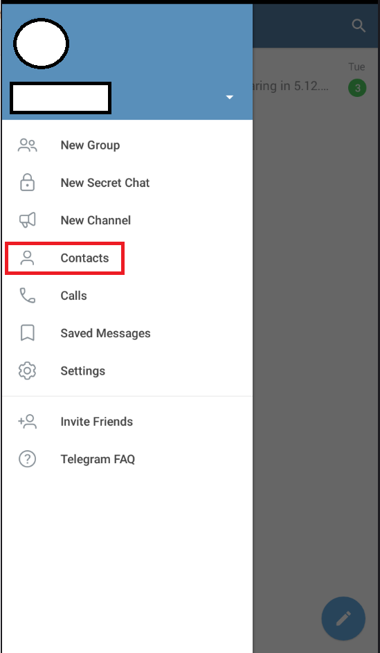 Telegram contacts