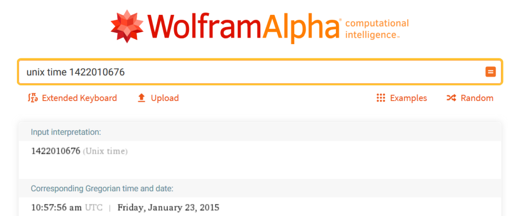 Time on WolframAlpha