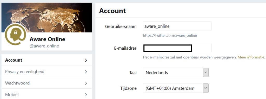 Twitter account timezone