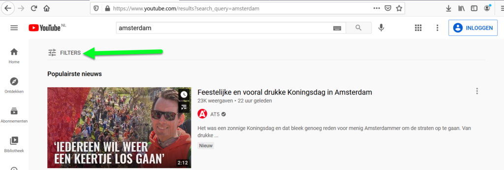 YouTube filter knop
