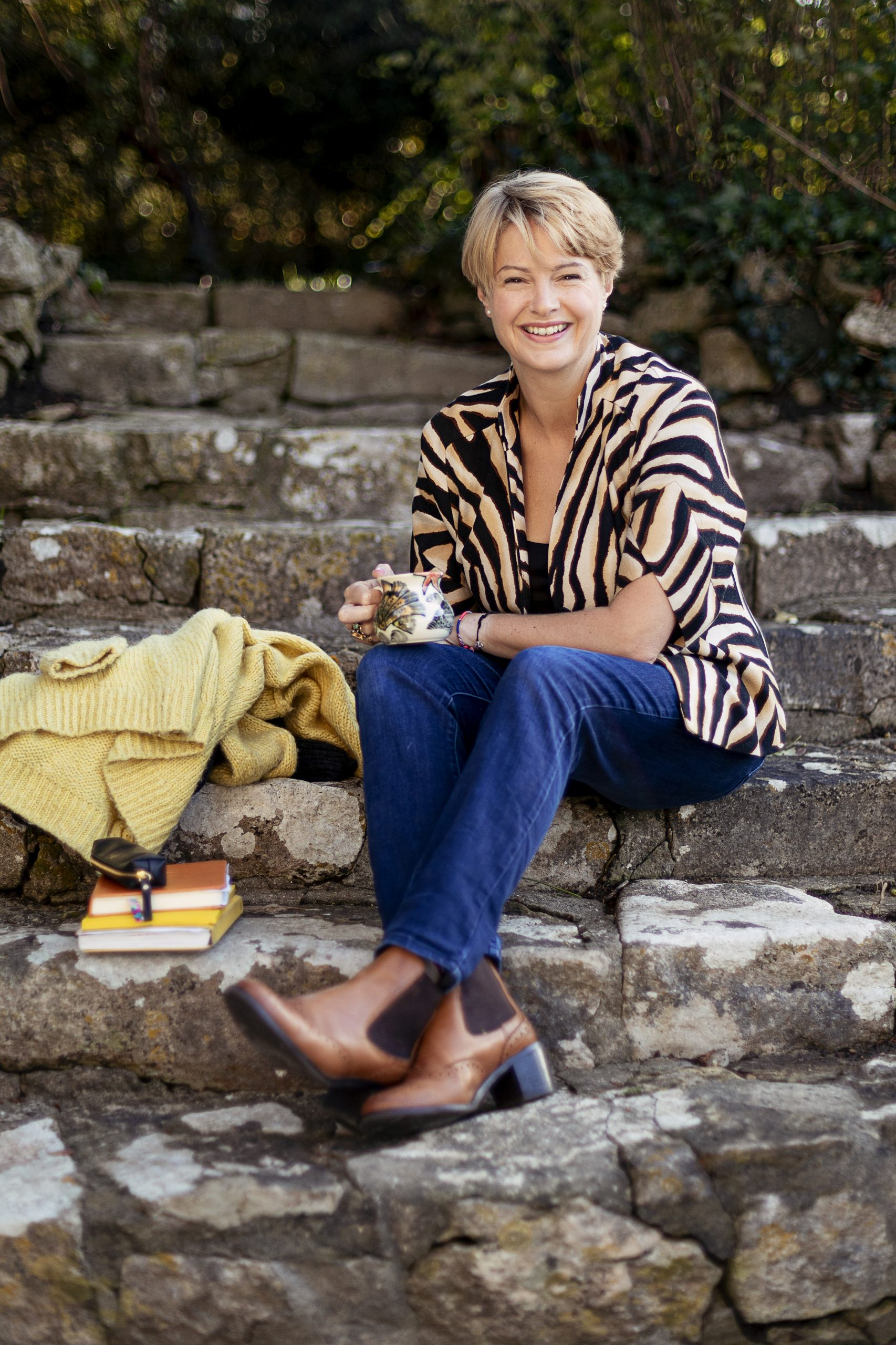 Jane Galloway on stairs