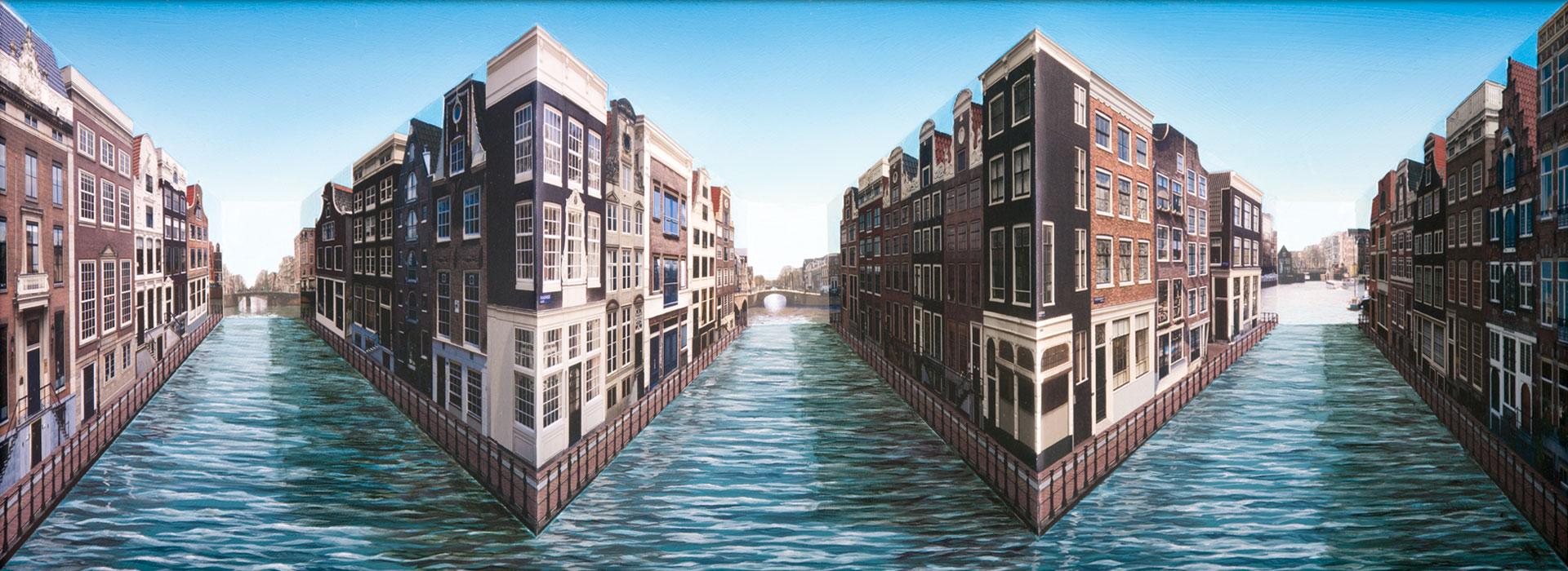 Patrick Hughes - 'Waterways' 2014 - 47 x 94 x 12
