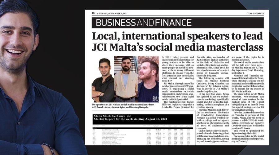 "Erendiz featured in ""The Times of Malta"""