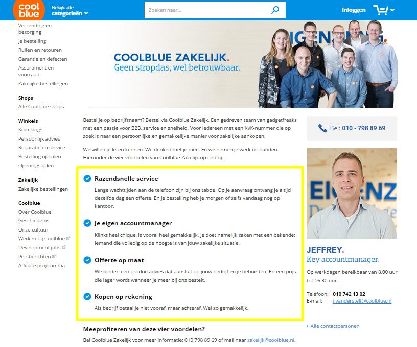 Coolblue zakelijk pagina b2b voorbeeld