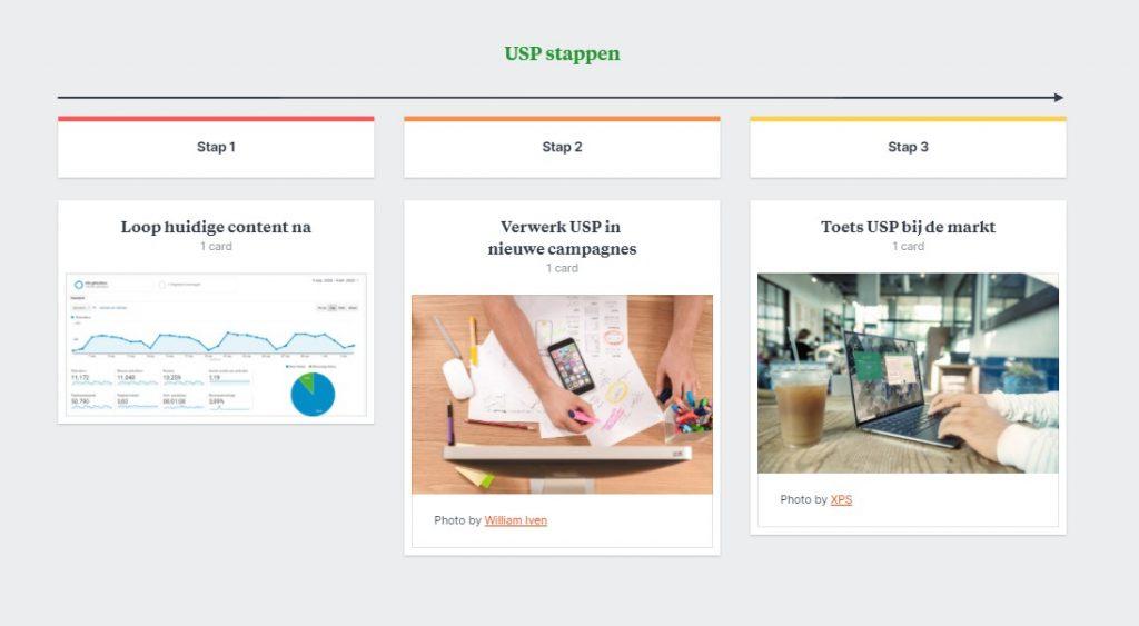 USP (unique selling point) stappen