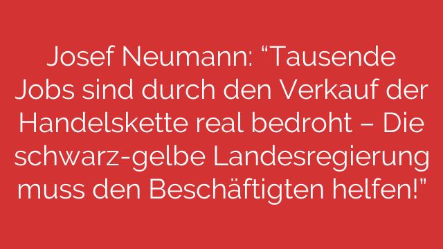 Josef Neumann Tausende Jobs sind durch den Verkauf der Handelskette real bedroht  Die schwarzgelbe Landesregierung muss den Beschäftigten helfen
