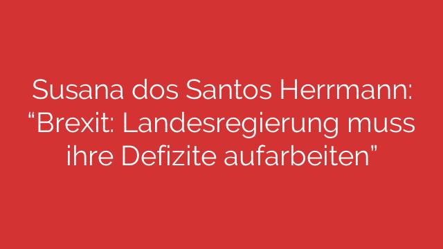 Susana dos Santos Herrmann Brexit Landesregierung muss ihre Defizite aufarbeiten