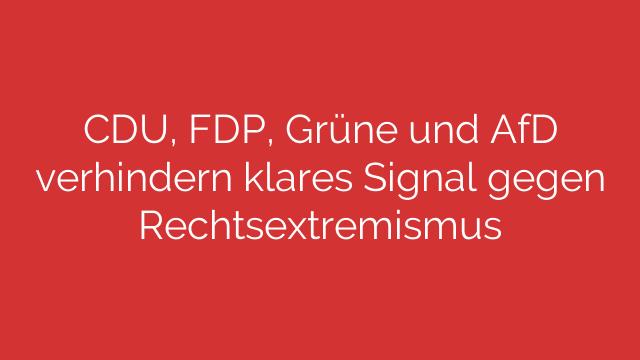 CDU FDP Grüne und AfD verhindern klares Signal gegen Rechtsextremismus