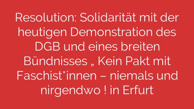 """Resolution: Solidarität mit der heutigen Demonstration des DGB und eines breiten Bündnisses """" Kein Pakt mit Faschist*innen – niemals und nirgendwo ! in Erfurt"""