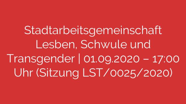 Stadtarbeitsgemeinschaft Lesben Schwule und Transgender  01092020  1700 Uhr Sitzung LST00252020