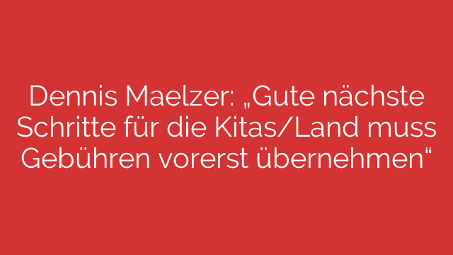 """Dennis Maelzer: """"Gute nächste Schritte für die Kitas/Land muss Gebühren vorerst übernehmen"""""""